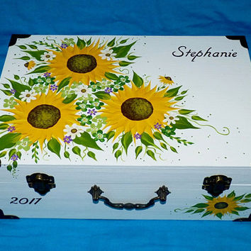 Romantic Wedding Box Card Box Suitcase Large Wood Sunflower Keepsake Trunk Gift Card Box Reception Custom Painted Memory Box Personalized