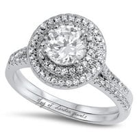 1.4CT Round Cut Russian Lab Diamond Double Halo Bridal Set Wedding Band Ring