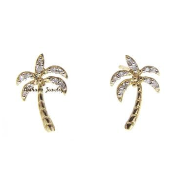 SOLID 14K YELLOW GOLD HAWAIIAN PALM TREE DIAMOND STUD POST EARRINGS