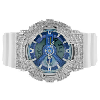 Custom G-Shock Watch Iced Out Blue Dial GA110WB-7A White Silicone Band Ana-Dig