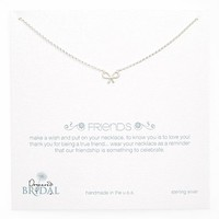 Women's Dogeared 'Friends - Bow' Pendant Necklace - Sterling Silver (Nordstrom Exclusive)