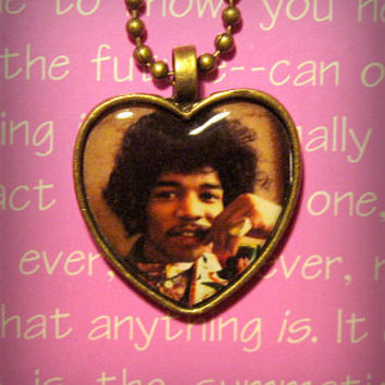 Jimi Hendrix Pendant Chain Necklace 60s rock psychedelic
