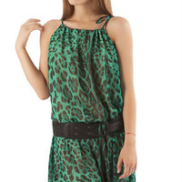 Green Maxi Dress Chiffon,Print Dress,Leopard Dress Summer Collection,Long Dress for Woman.