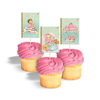 Baby girl cupcake toppers for book themed baby shower / printable cupcake toppers / cake bunting / rectangular tags, labels / book covers