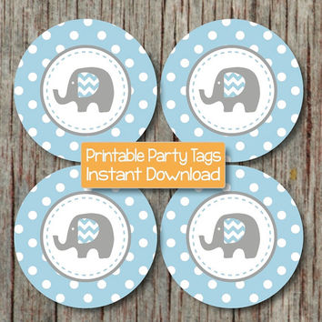 Elephant Baby Shower Decorations Cupcake Toppers Favor Tags Stickers Instant Download Powder Blue Grey Printable diy Party Supplies Boy 125