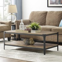 Angle Iron Rustic Wood Coffee Table - Barnwood (Multiple Colors Available) - Walmart.com