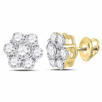 14kt Yellow Gold Womens Round Diamond Cluster Stud Earrings 1-3-8 Cttw