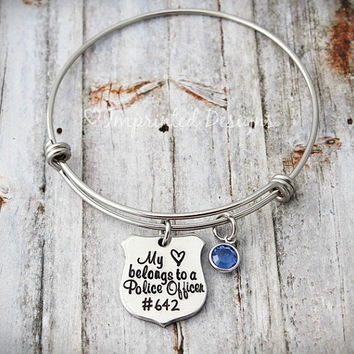 Wire Bangle - Charm Bracelet - My Heart Belongs to a Police Officer - Personalized - Birthstone - Police Wife - Back the Blue - Police Badge