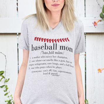 Baseball Mom Definition V-neck Tee {H. Grey}