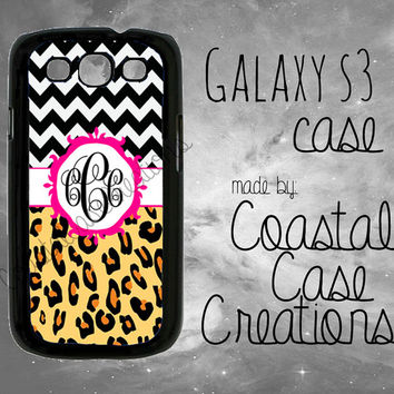 Chevron and Leopard Print and Pink Monogram Custom Samsung Galaxy S3 Hard Plastic or Rubber Cell Phone Case Cover Original Design