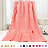 Sofa Solid Color Warm Blankets Warm Soft Throw Blanket Fleece Coral Plaid  baby Blankets Travel Flannel