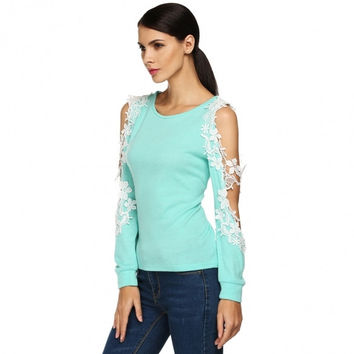 Women Fashion Casual O-Neck Off Shoulder Lace Patchwork Hollow Long Sleeve Sweater