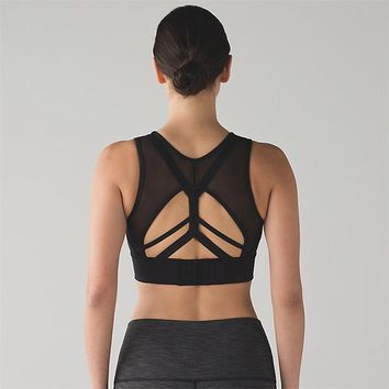 Strappy Mesh Back Deep V Neck Sports Bra