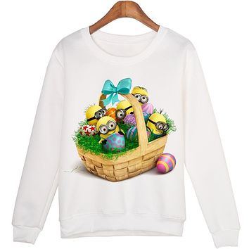 Harajuku Hoody Cut Minions Baby Print Women Sweatshirt Jumper Casual Hoodies For Lady Funny White Long Sleeve Sweatshirts