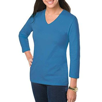 Amy Alder Womens V Neck 3 4 Sleeve T Shirt Plain Basic Tee Stretch Solid Vneck