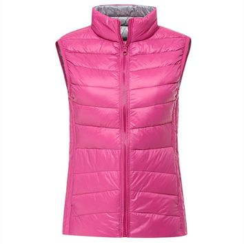 Ultra-thin PGM Clothes Reversible Women Feather Waistcoat Double Color Coat Ultra-light 145g Slim Down Vest Golf/Tennis Apparel