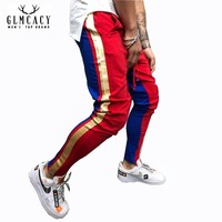 Men Hip Hop Streetwear Fashion Parallel Side Stripe Drawstring Close Botton Track Pants Slim Fit Jogger Pants Plus Size Pants