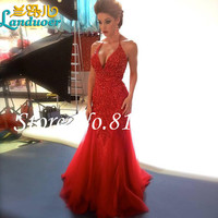 Vestidos Sexy Deep V Neck Sleevless Beaded Crystal Red Mermaid Prom Dresses 2016 Tulle Court Train  Women Evening Gowns