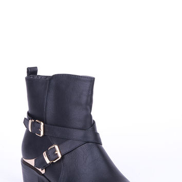 Metallic Stirrup Ankle Boot -Brown-UK 8 - EU 41