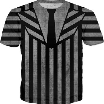 Beetlejuice suit like tee shirt, black and white vertical stripes pattern, halloween style