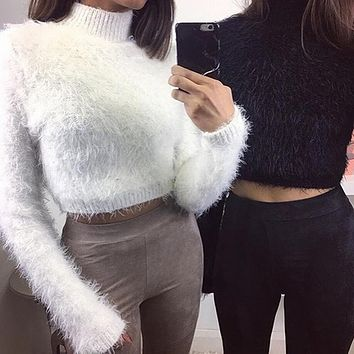 Long sleeve turtleneck exposed navel sweater top