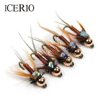 ONETOW ICERIO 12PCS Copper John Fly Brass Head Nymph Stone Fly Fishing Trout Bait #12