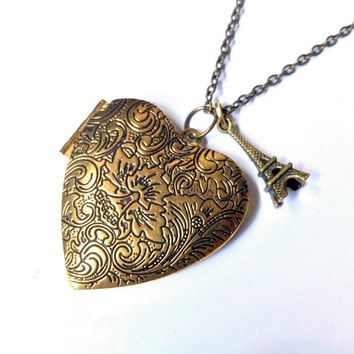 I Heart Paris: heart locket with Eiffel Tower charm necklace