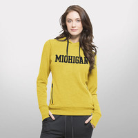 Ladies Fleece & Sweatshirts '47 Brand University of Michigan Ladies Gold Forward Stride Performance Hood