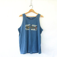 20% OFF SALE Vintage Hawaii Tank Top. Grunge Tank Top. Novelty Muscle Tee with fish.