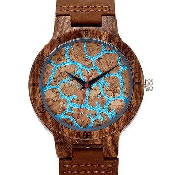 Sport Mens Wooden Watch Japan Quartz Wristwatches Fashion Casual Leather Strap Nature Wood Wrist Watch