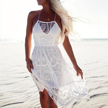 Sexy Lace Mesh Dress Women Party Vintage Mid Dresses Transparent Embroidery Vestidos
