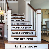 Wall decal decor decals sticker art vnyl design sign custom words quote stairs family love rules In this house home bedroom dorm  (m1212)