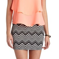HIGH-WAISTED CHEVRON MINI SKIRT