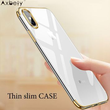 Axbety For iPhone XS MAX/ XR Luxury Crystal Clear Cases For iPhone X Ultra Slim Soft Transparent Glossy Chromed Gold Cover coque