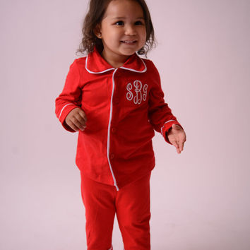 Christmas Pajamas for Kids Monogrammed in Sizes 3 Months to Adult