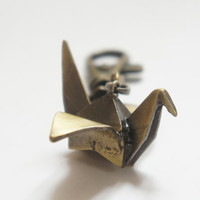 Vintage Style Antiqued Brass Origami Bird Key Chain Keychain