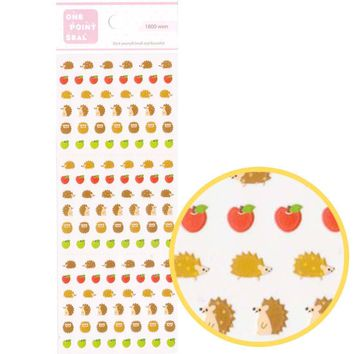 Tiny Hedgehog Porcupines and Apple Shaped Animal Sticker Seals for Scrapbooking and Nail Art