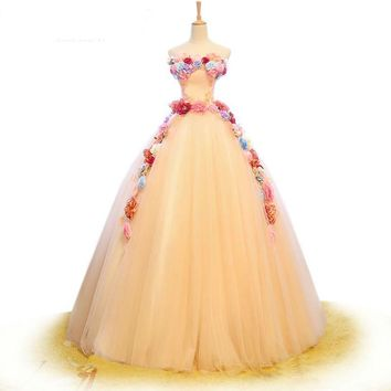Bridal Dress White Tulle 3D Flower Wedding Dress Off Shoulder Ball Gown