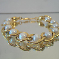 Pearl Chain Link Bracelet Bridal Wedding Costume Jewelry Fashion Accessories For Her