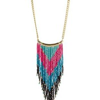 Multi Beaded Fringe Statement Necklace by Charlotte Russe