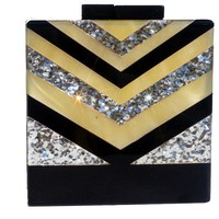Glitter V strip Acrylic Box Clutch