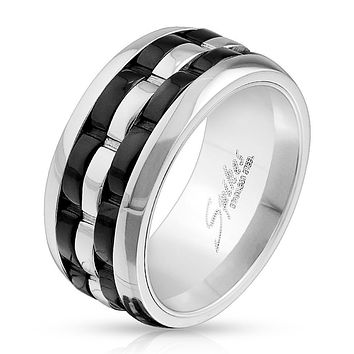 Two Tone Grooved 3-Part Spinner Center Stainless Steel Ring