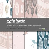 Digital paper pack of 8 sheets Pale birds 083