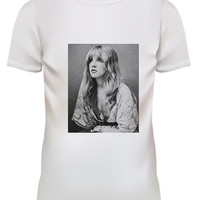 Unisex Fleetwood Mac Stevie Nicks Pop Punk Rock White T Shirt Size S M L XL