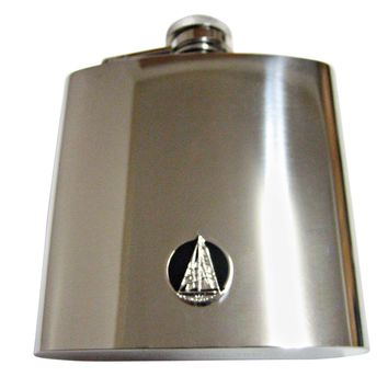 Black and Silver Toned Nautical Sail Boat 6 Oz. Stainless Steel Flask