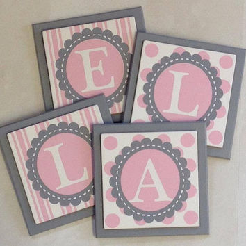 Pink and Gray Personalized Baby Girl Nursery Decor - Polkadot Stripe Pattern - Custom Design Wood Wall Letter Name Sign