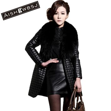 AISHGWBSJ Plus Size Women Faux Leather Long Slim Jacket Winter Coat Fur Collar Female PU Outerwear 2015 Fashion Black ZP546