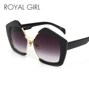 ROYAL GIRL Fashion Luxury Brand Oversized Pentagon Sunglasses Female Vintage Personality Half Frame Sun Glasses For Women SS081