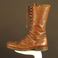 GIANNI VERSACE-1980s Brown Leather Combat Boots, Size-9 1/2