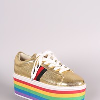 Rainbow Stripe Lace Up Flatform Sneaker